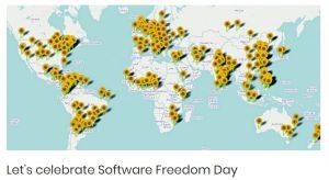 Image Sorftware Freedon Day. Mapmonde avec les lieux de festivités