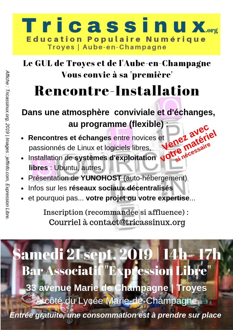 Afficher Rencontre-Installation de Tricassinux, Troyes, le samedi 21/09/2019 au bar l'Expression Libre