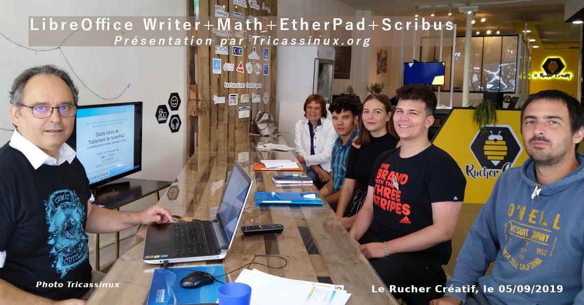Photo des participants à notre première présentation-demo de logiciels libre le 05/09/2019 au Rucher Créatif.