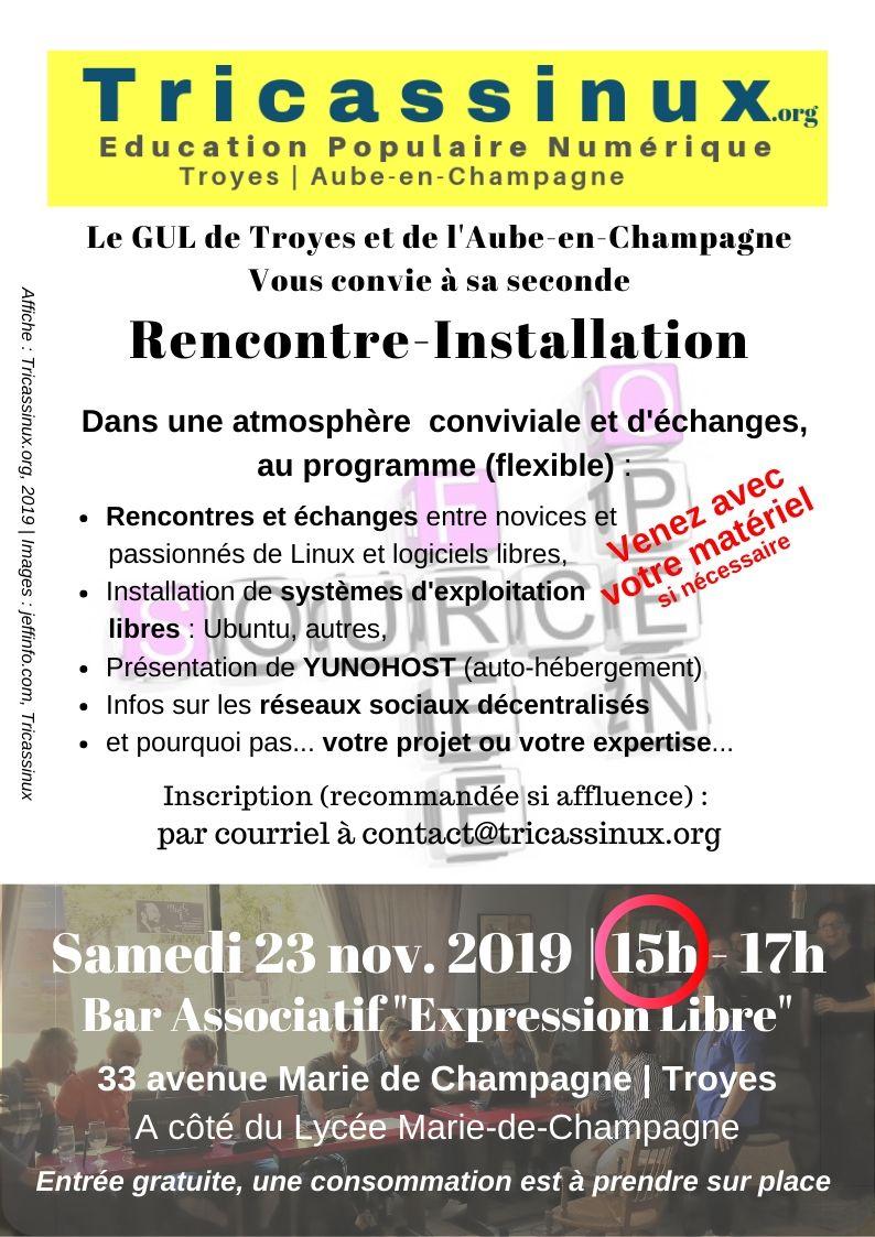 Affiche Rencontre-Installation du 19/10/2019.