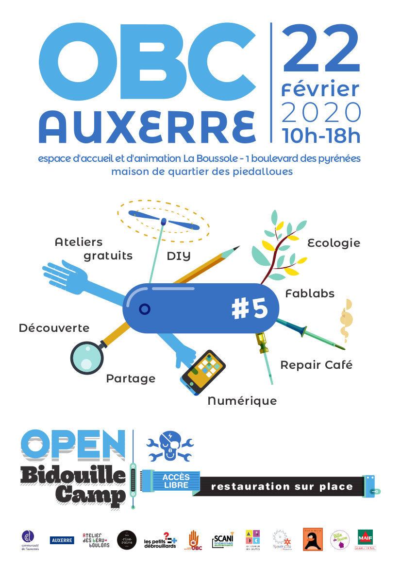 Affiche de l'Open Bidouille Camp à Auxerre 2020/02/22