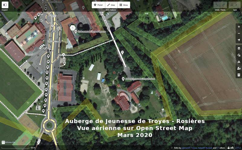 Image aérienne Auberge Jeunesse Troyes-Rosières sur OSM - Mars 2020