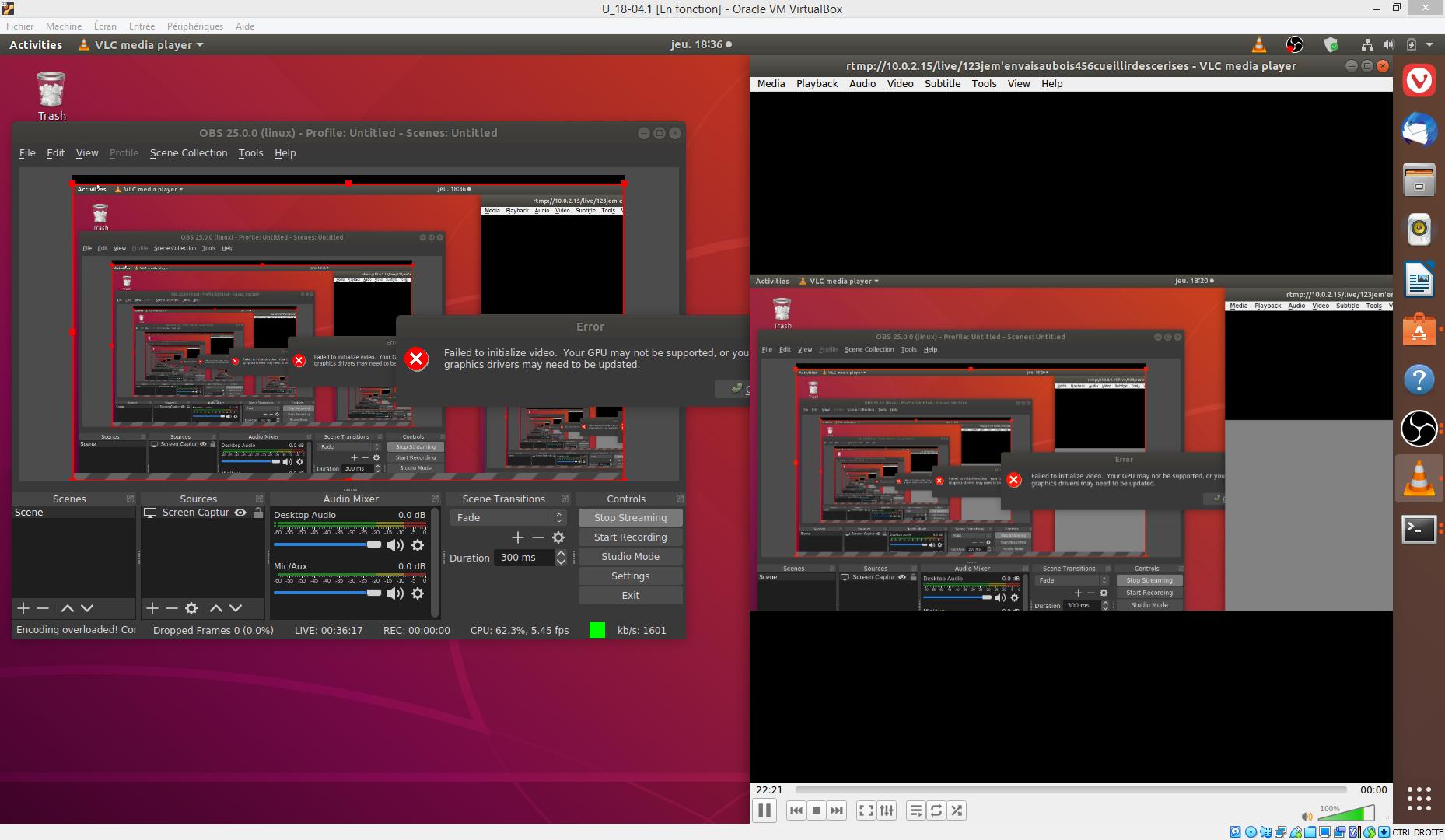 Copie écran Streaming OBS avec un VLC sur nginx.rtmp sur Ubuntu Tricassinux