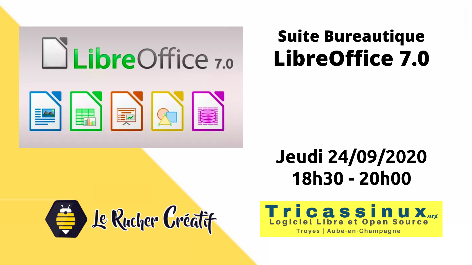 Tricassinux présente LIbrOffice 7.0 au Rucher, Troyes.