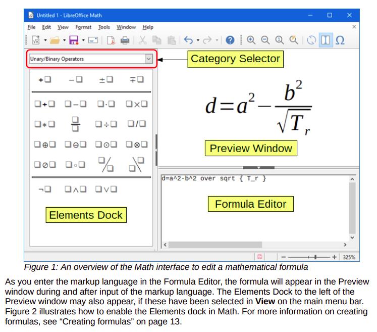 Guide LibreOffice Math 7.0 Extrait Interface