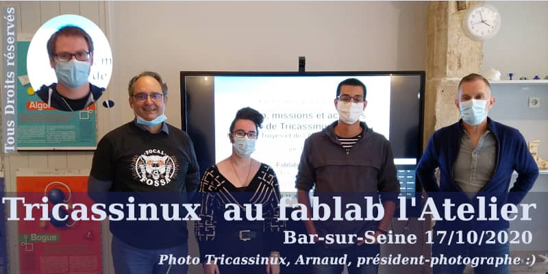 Photo de participants à la session Tricassinux au fablab L'Atelier de Bar-sur-Seine.